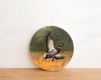 Paint by Number Circle Art Block 'Mallard Flight' - duck hunting, water fowl, fall, vintage art