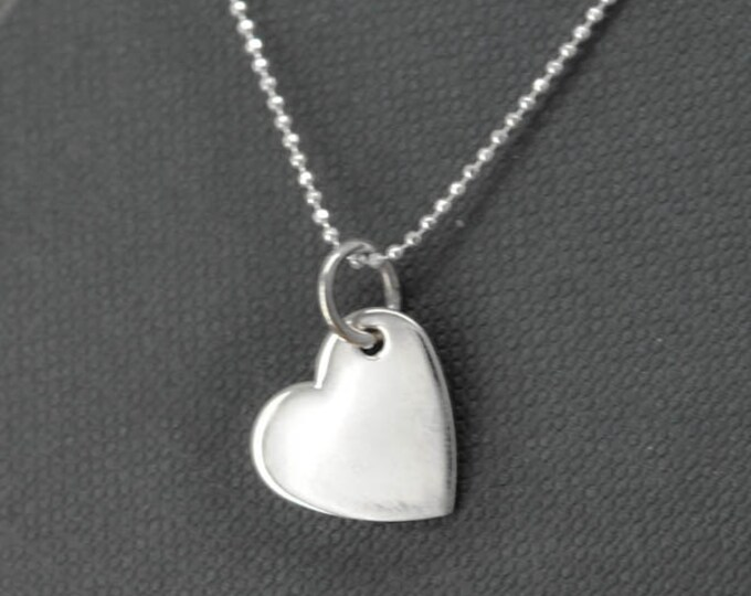 heart necklace, sterling silver necklace, mother daughter, best friend, sisters, necklace