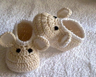 Pattern Crochet Baby Shoes /Crochet Pattern Baby Booties/Newborn Slippers/ Crochet Mouse Shoes  / Pattern 251/ Size 0-12 Months /Tutorial /
