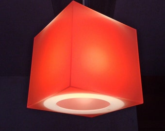 Orange & other hot colours | cube lampshade - Translucent Perspex cube containing a blue, turquoise, orange, or pink coloured gel filter
