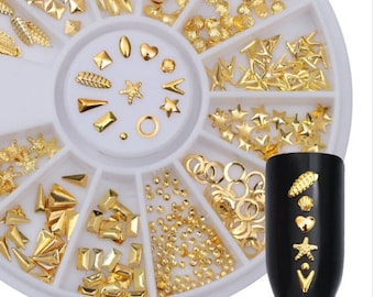 Gold Rivet Nail Studs 3D Nail Art Decoration Feather Star And Mixed Accessories in Wheel for DIY