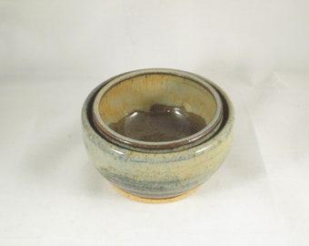Set of 2 Handmade Ceramic Brown and Blue Nesting Bowls