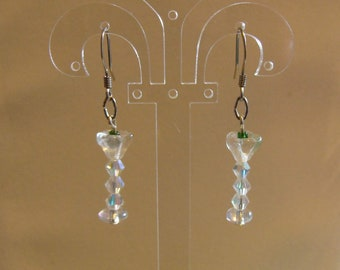 Fun Martini Glass Earrings.  Tiny Green Olives