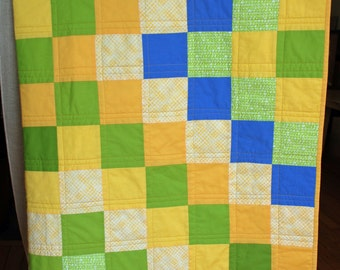 Green Yellow and Blue Handmade Quilt