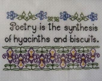 Flowers and Poetry Blackwork Pattern - Carl Sandburg