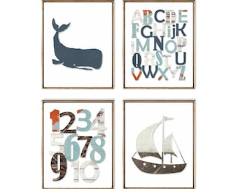 Nautical Nursery Art, Alphabet Art, Nautical Number Art, ABC Wall Art, Rustic Nautical, Beach Baby Gift For New Mom, Ocean Nursery Art