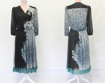 80s Dress with Abstract Print / 1980s Dresses / Retro / 1980s Vintage Dress