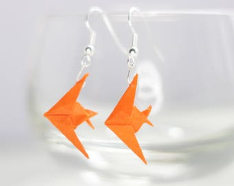 Origami Fish Earrings.Choose your own colour.Origami Gift.Origami Earrings.Origami Jewellery.Paper Jewellery.Miniature Origami.Gift for her.