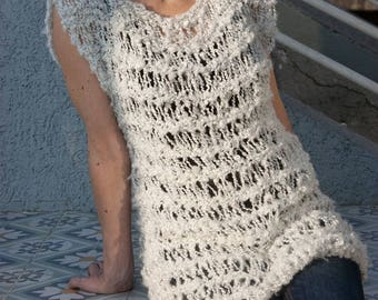 White sweater,  loose knit sweater