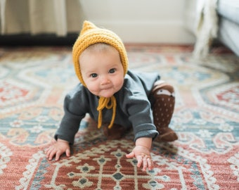 CHARLIE Bonnet | Ribbed Baby Bonnet | Toddler Crochet Hat | Pixie Bonnet | Mustard Crochet Hat | Knit Baby hat | Knit baby bonnet