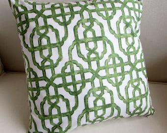IMPERIAL JADE  jade green/white  designer Pillow Cover 18x18 20x20 22x22 24x24 26x26