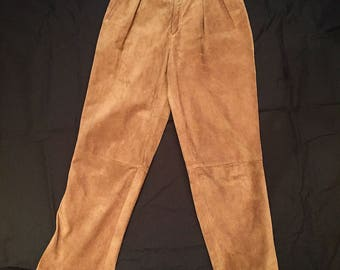 1980's Vintage Tan Suede Pants