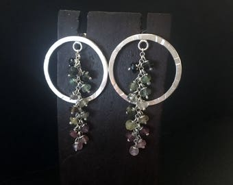 Sterling silver hammered earrings with ring and chain of various stones. Handmade. Minimalist earrings.