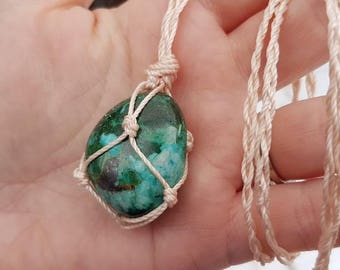 Reiki infused Chrysocolla macrame necklace