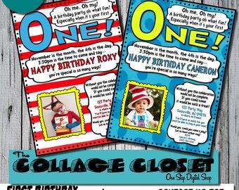 Dr seuss 1st birthday invitation Etsy