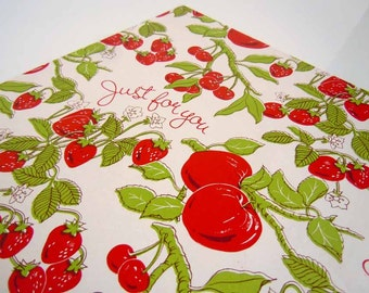 Vintage 1970's All Occasions Wrapping Paper Red Green Strawberries Strawberry Gift Wrap