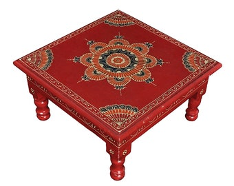 Indian Wooden Chowki Square Furniture Table Red Bedside Side Low Table