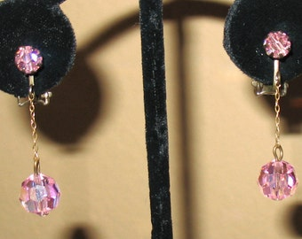 1940s Earrings, 1950s Earrings, Pink Crystal Dangle Earrings, Pink Clip On Earrings, Mid Century Drop Earrings, Faceted Pink Glass Earrings