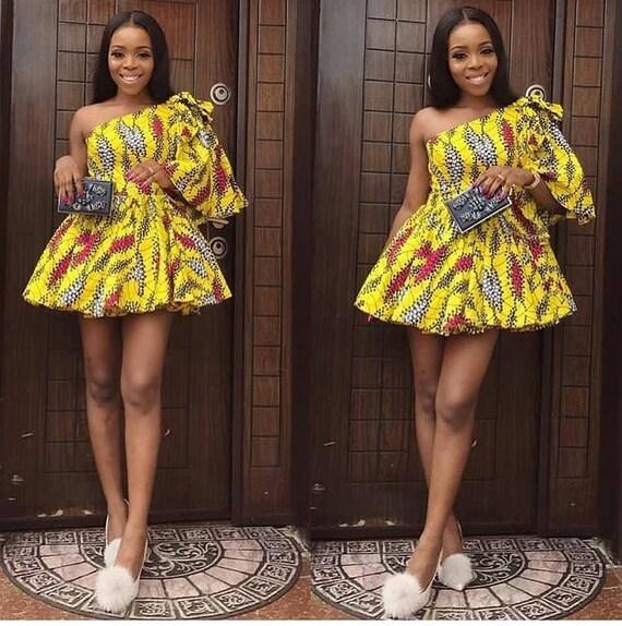 Elegant African Print Short Dress  One Shoulder Dress    Ankara Print   African Dress   Handmade   Africa Clothing   African Fashion by Etsy