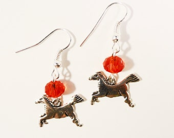Silver Horse Earrings, Red Crystal Earrings, Antique Silver Charm Earrings, Dangle Earrings, Beadwork Earrings, Beaded Western Earrings