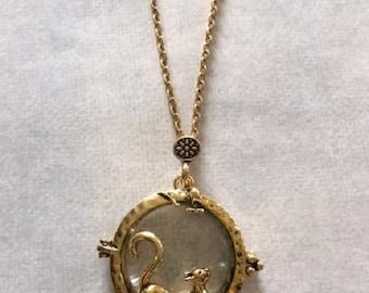 Cat Necklace - Cat Jewelry - Cat Pendant - Magnifying Glass - Magnifying Glass Necklace - Magnifying Glass Pendant - Magnifying Necklace
