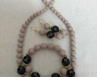 Tan Black and Gold Jewelry Set