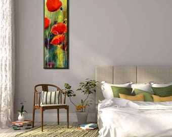 Poppy Painting, Painting flowers, Vertical Painting, Narrow Wall Art Wall, Landscape Painting, Family Room Art, Red Flowers, Green Painting
