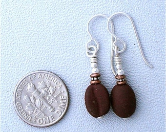 Earrings Glass Coffee Beans Small and Fun