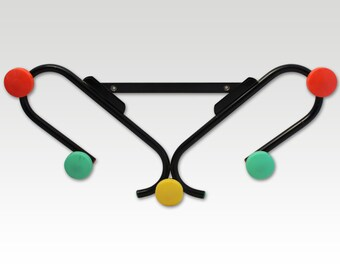 French Vintage Atomic Coat Rack - Coat Hook -Red,Yellow,GreenWood Balls on a Black Metal Rack - 1950s