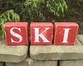 SKI, Blocks, Wood, Rustic, Primitive, Shelf Sitters, Hand Painted, S K I, Sign, Letter Blocks,