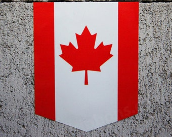 "Flag of Canada sticker - 2"" x 2.5"" - Vinyl Decal Car Canadian Emblem Badge"
