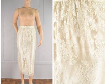 "Vintage Womens 1980s Jessica McClintock Ivory Cream Colored Silk & Floral Lace Midi Pencil Skirt | Size: S/M / 27.5"" Waist"