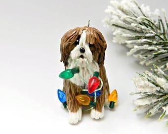 Polish Lowland Sheepdog Christmas Ornament Lights Porcelain