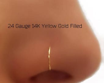 24 Gauge 14K Rose, Yellow Gold Filled Nose Hoop Nose Ring G 18G 20G 22G 24G  Gold Nose Piercing