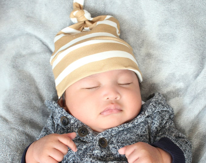 baby hat tan stripe Organic knot modern newborn shower gift photography prop hospital outfit accessory neutral girl boy