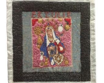 Haitian Voodoo Art Flag, Folk art, Erzulie Freda sequin and bead on satin