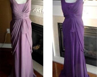 Long bridesmaid dress mauve purple bridesmaid dress plus sze Purple prom dress, v neck pleated bodice