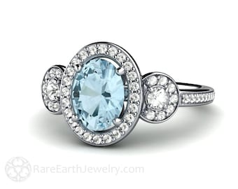 il gold aqua diamond aquamarine white halo ring engagement rings listing