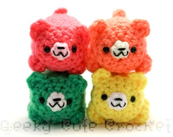 Neon Bear Yama Amigurumi Tiny Plush Toy Colorful Bright Cubs
