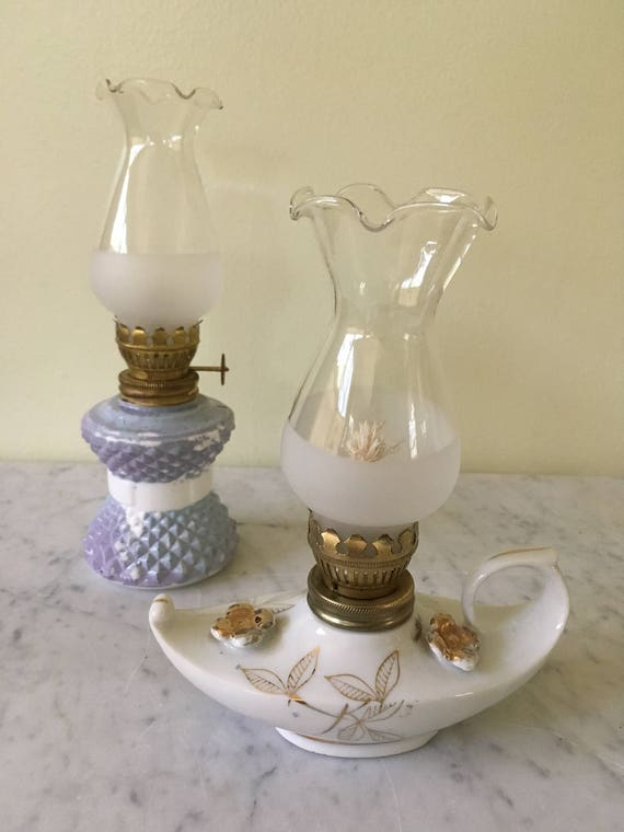 Vintage Mini Oil Lamps Aladdin Style Porcelain Painted