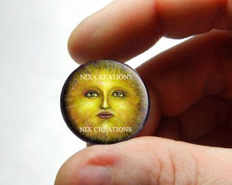 Sun Face Glass Cabochon - Design 1 - for Jewelry and Pendant Making