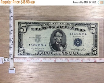 10%OFF3DAYSALE 1953 Silver Certificate Five Dollar Money No A56343924A Used