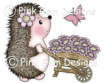 Digital Digi Stamp  Hedgy with Wheel Barrow. Hedgehog