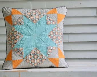 Country Throw Pillow Cover // 18 x 18 Quilted Pillow Cover // Orange and Faded Gray // Amish Star