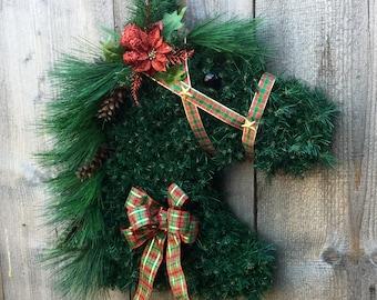 Horse, Christmas horse head wreath, horse head wreath, wreaths, Holiday, wreath