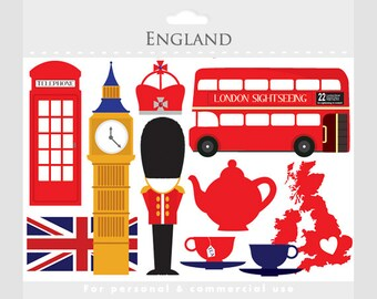London clipart - England, UK, clip art, travel clipart, tea, bus, double decker, flag, crown, clock tower, telephone booth, teacups