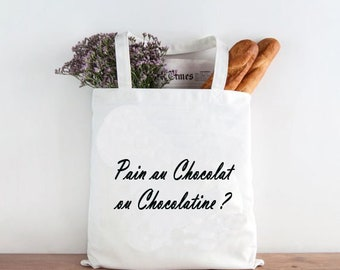 Bag with bread, natural cotton Tote bag: chocolate Croissant or?