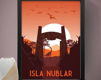 Isla Nublar Jurassic Park Travel Print, Travel poster, Movie poster, Retro movie art, Minimalist poster, Print
