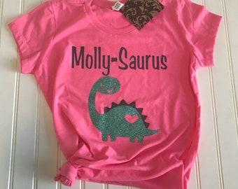 Girls Dinosaur Shirt, Girls Birthday Shirt, Birthday Shirt for Girls, Girls Birthday Gift, Pink Birthday Shirt, Kids birthday shirt