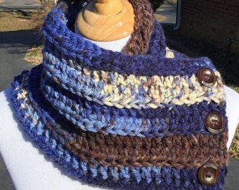Crochet Cowl, Chunky Crochet Cowl, Boston Harbor Scarf, Bulky Cowl, Neck Warmer, Gift For Her, Handmade, Blue, Brown, White, Women's Gift